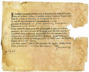 Un document daté du 27 janvier 1695, dans les archives du village de Peyresq. Le document le plus ancien dans ces archives est daté de 1270.